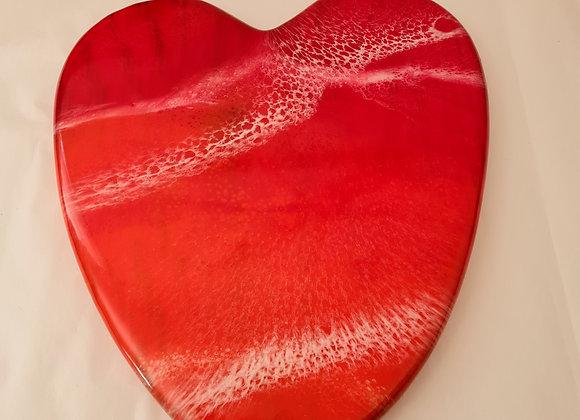 Sunset Resin Art Heart Charcuterie Board