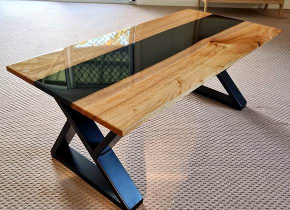 Camphor Laurel black river resin coffee table