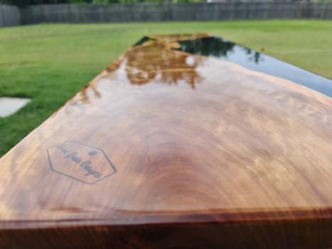 Cypress and black resin hall table