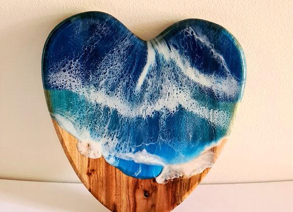 Resin Art Heart Charcuterie Board