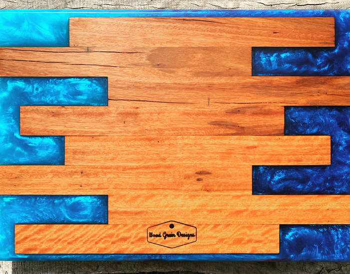 Strip timber and resin serving board