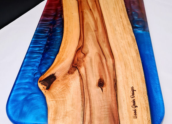 Colour blend timber and resin serving/cutting board