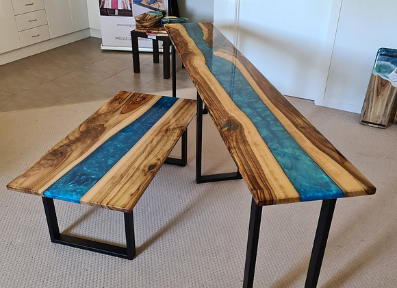 Custom timber and resin tables