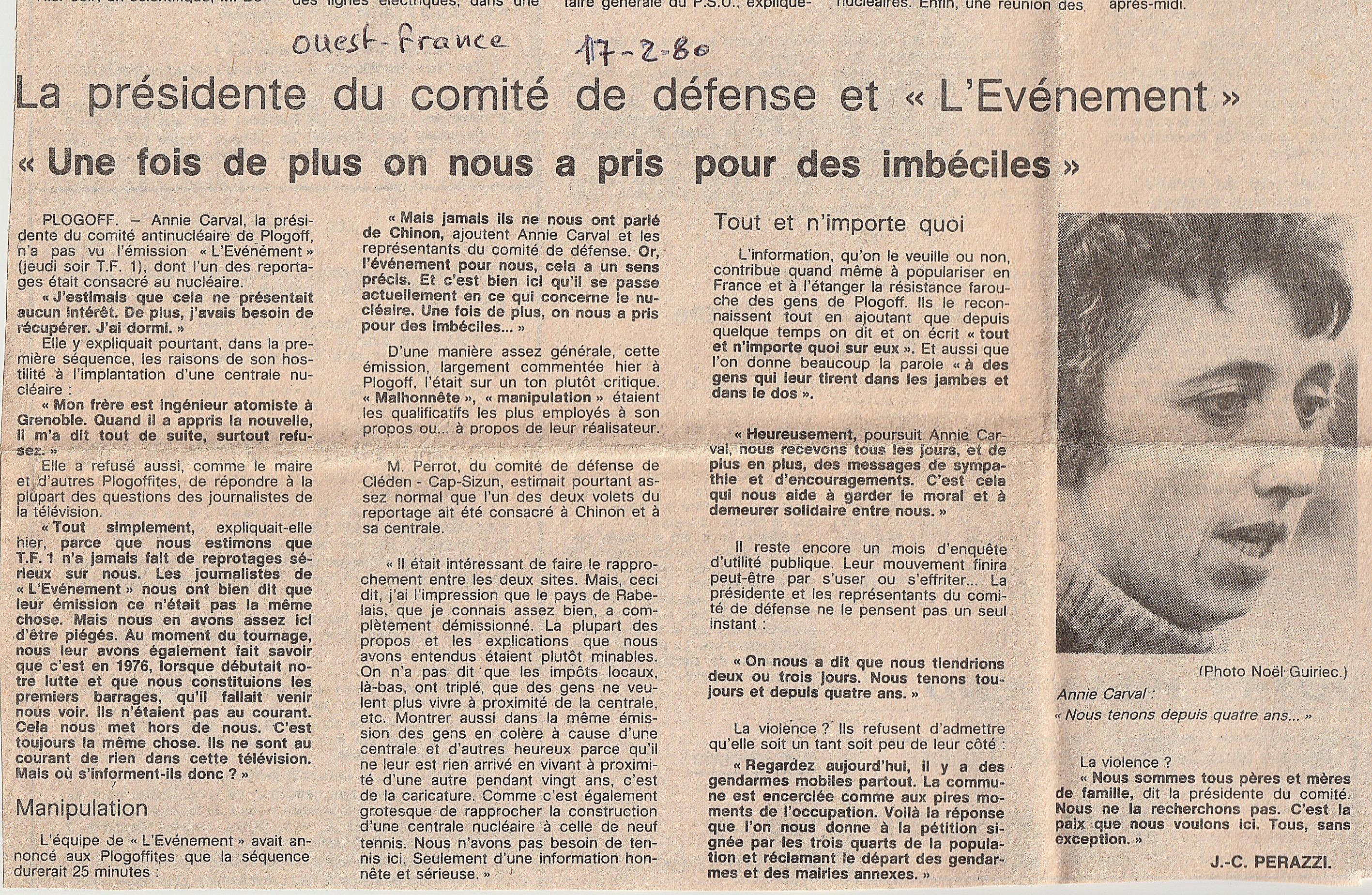 """Annie Carval : """"On_nous_a_pris_pour"""