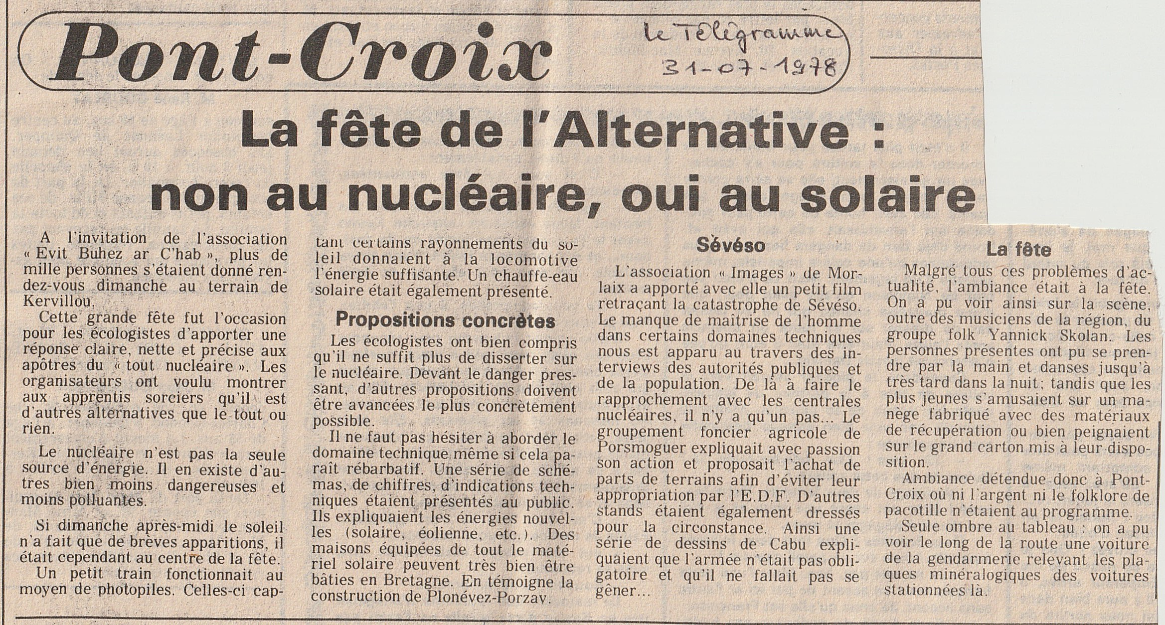 Fête de l'Alternative Le Télégramme 31-0