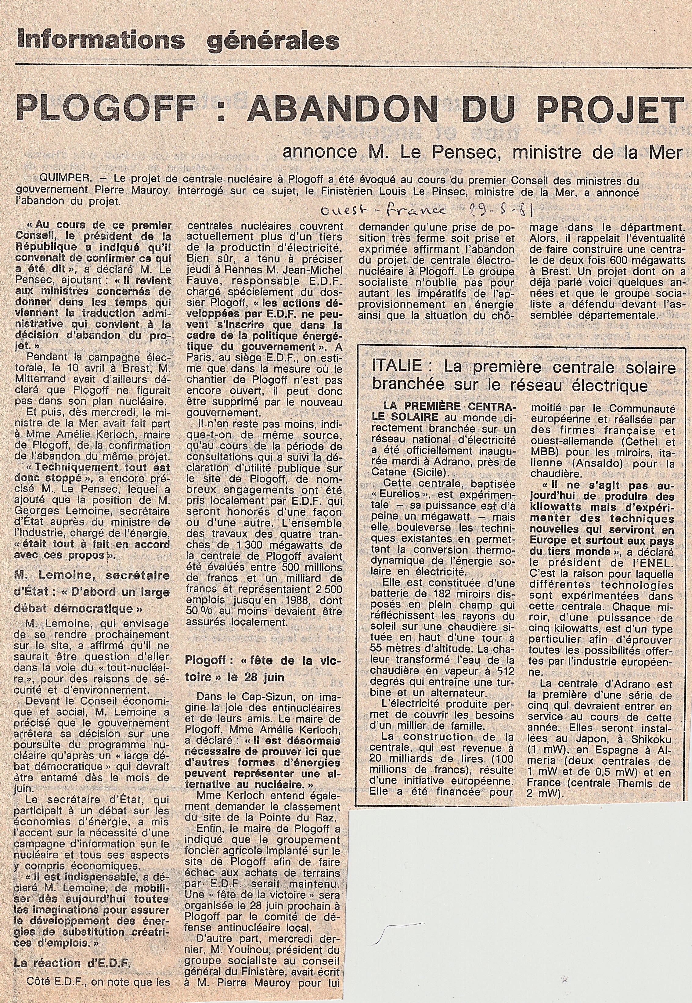 Plogoff abandon du projet Ouest-France 2
