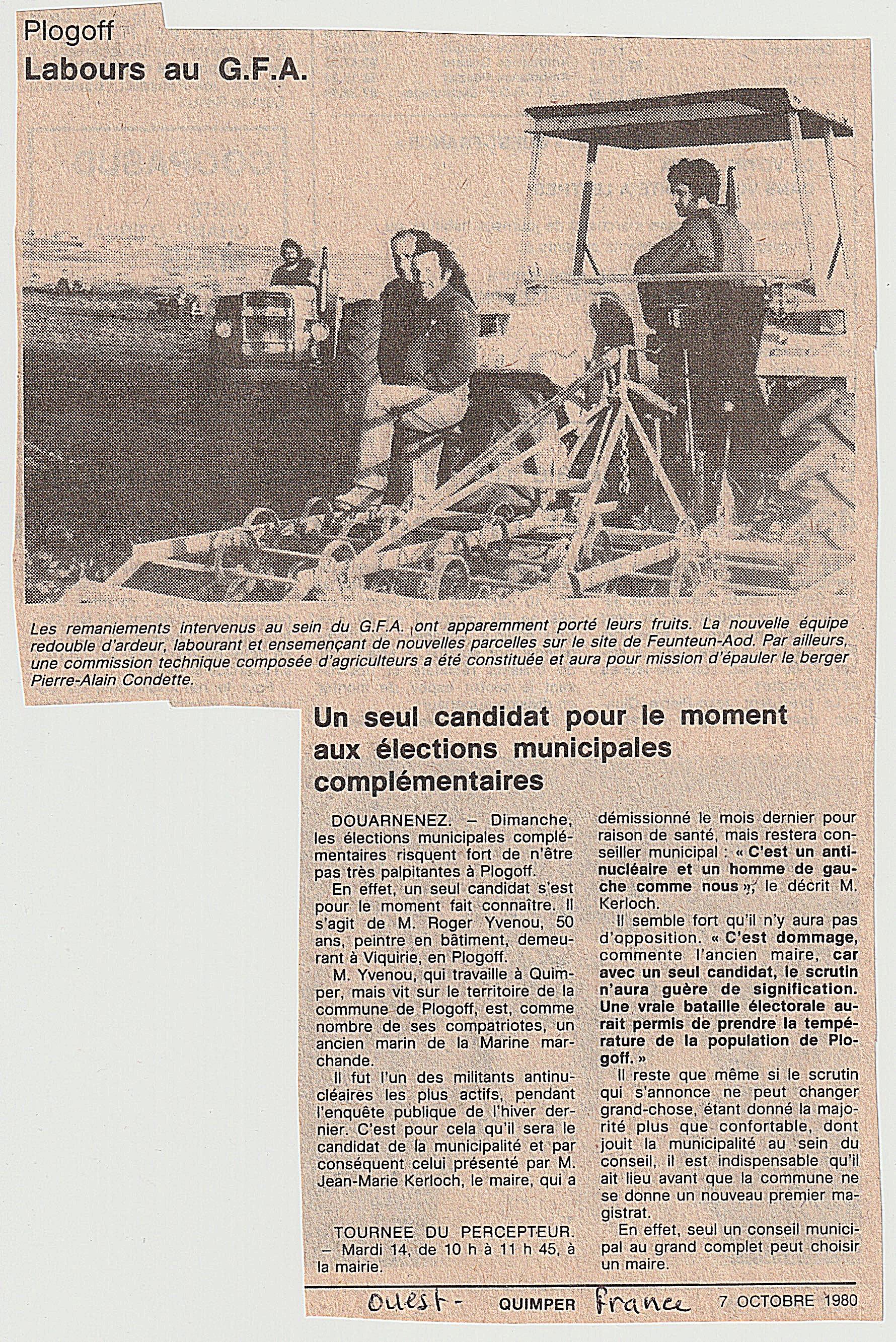 Labour au GFA Ouest-France 2-10-1980