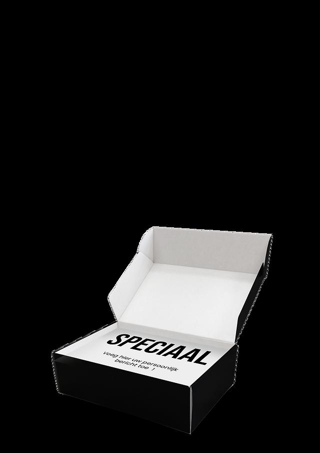 Een zwarte doos met de tekst SPECIAAL er op.