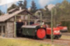 Kleinbahn-Schneeschleuder im Bahnhof Langen