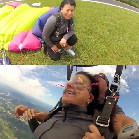 Lori Fischer jumping from an airplane at 13,000 feet
