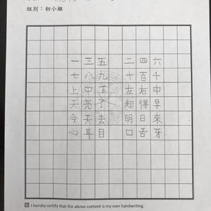 硬筆初小組第三名 托倫斯中文學校陳怡安