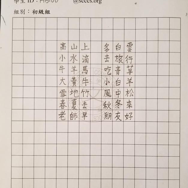 硬筆初級組第五名 僑心國語學校呂恩宇