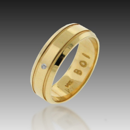14k Yellow Gold 7mm Dia.Accent Flat Top Contour Band of Infinity™