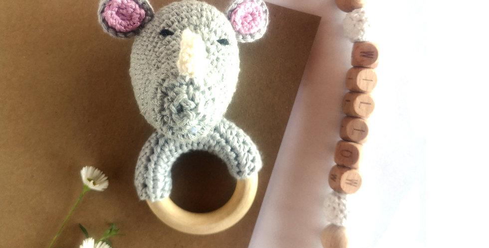 Personalized Eco-baby Gift Set - Rhino