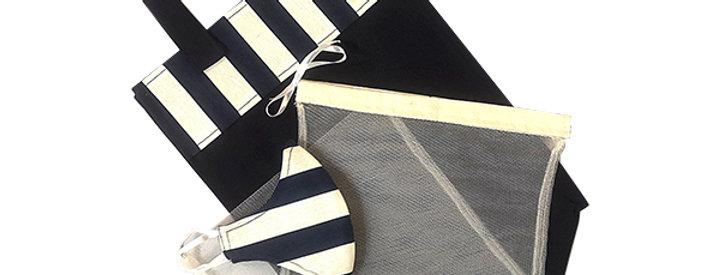 Navy Stripe Kind Shopper Kit - 6 shopper bags, 3 produce bags, 1 mask