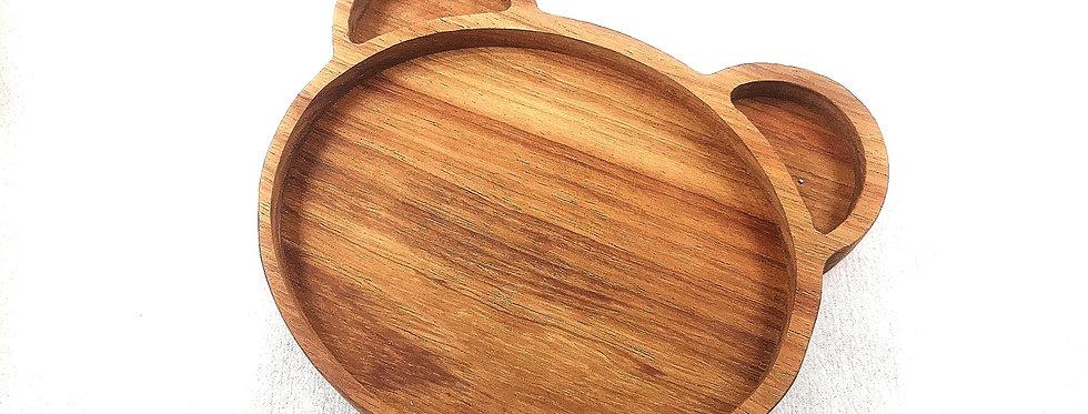 Bear Baby Plate - Kiaat Wood