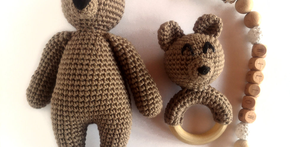 Personalized Eco-baby Cuddle Gift Set - Bear