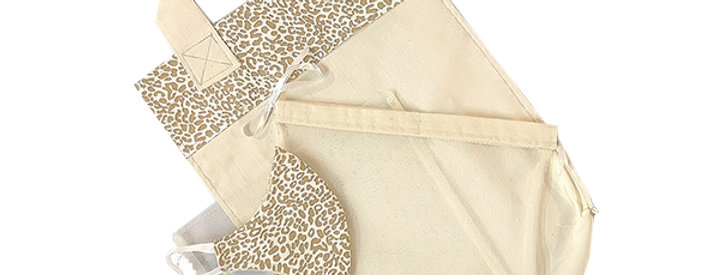 Light Leopard Kind Shopper Kit - 6 shopper bags, 3 produce bags, 1 mask