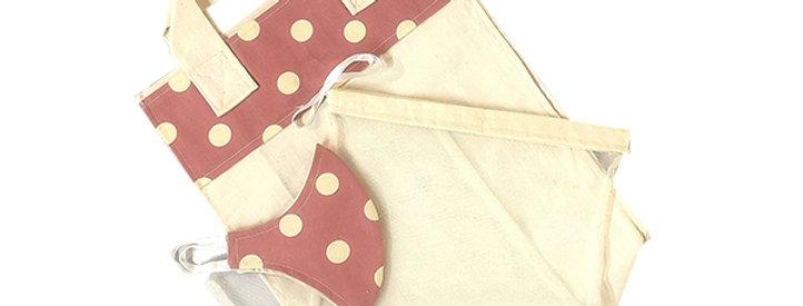 Pink Polka Dot Kind Shopper Kit - 6 Shopper bags, 3 produce bags, 1 mask