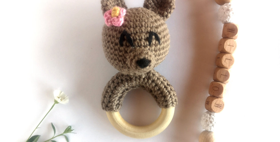 Personalized Eco-baby gift set - Flower Bear