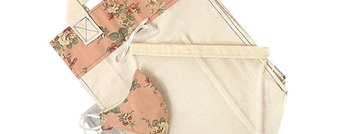 Pink Floral Kind Shopper Kit -  6 shopper bags, 3 produce bags, 1 mask