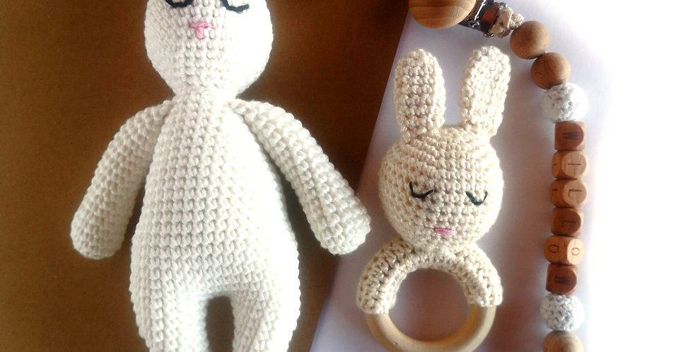 Personalized Eco-baby Cuddle Gift Set - Bunny