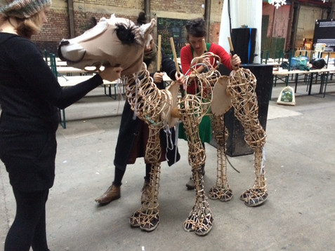 Rehearsal with Camel puppet