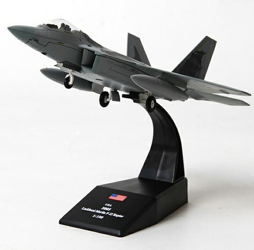 Miniatura de metal de um Lockheed Martin F-22 Raptor (1/100)