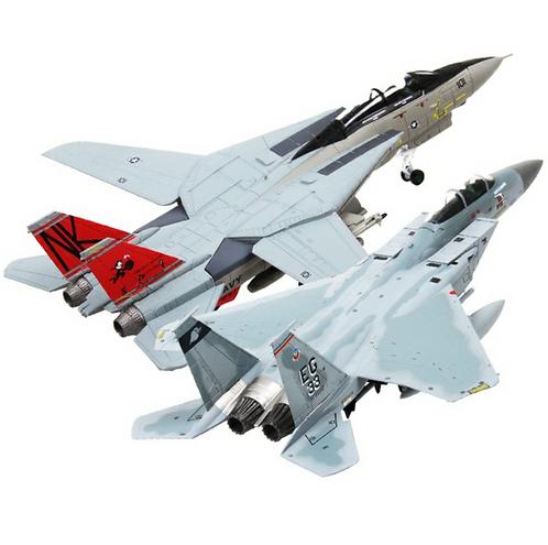 Miniatura de metal de um F-14 Tomcat e um F-15 Eagle Strike (1/100)