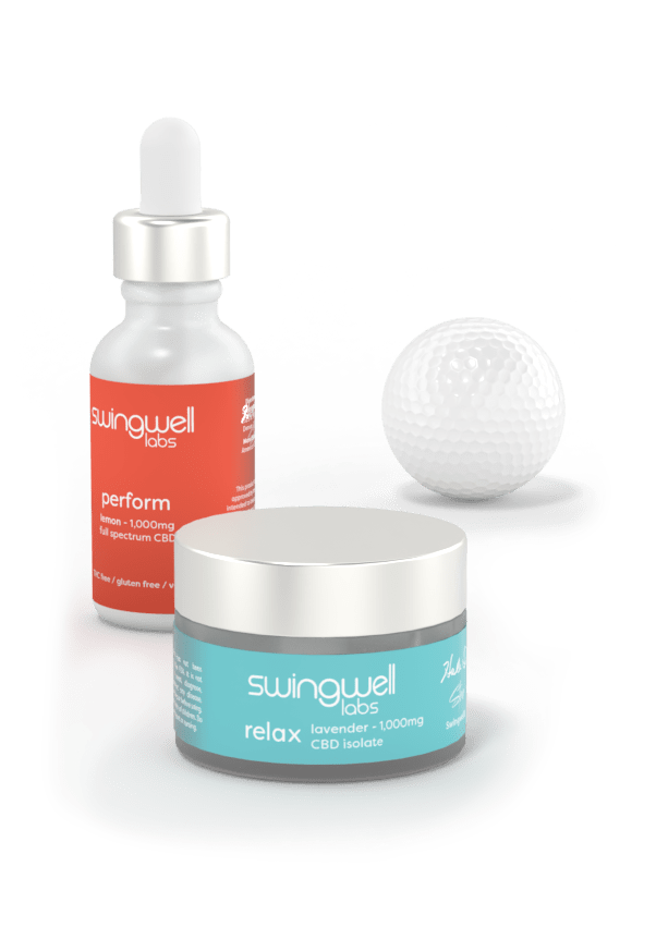 Perform Tincture and Relax salve posed next to a golf ball.