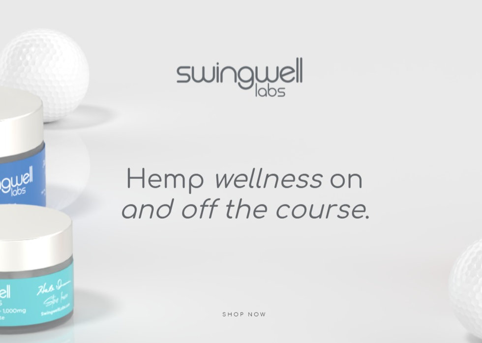 """Swingwell Products posed alongside golf balls, """"Hemp wellness on and off the course""""."""