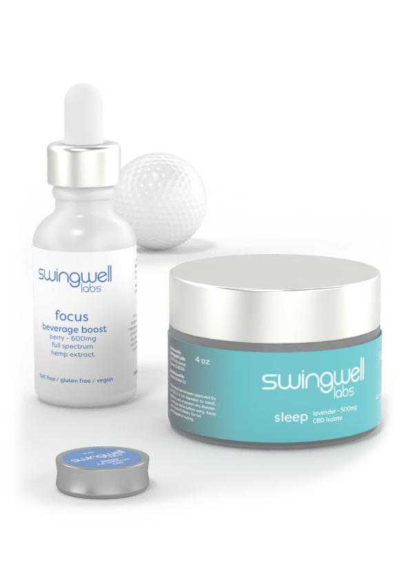 Swingwell Sleep cream, and Swingwell focus beverage boost posed together with a salve and golf ball.