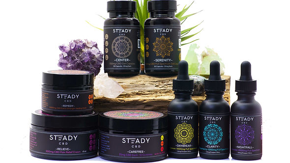 Steady Product line posed with crystals, plants and rocks.