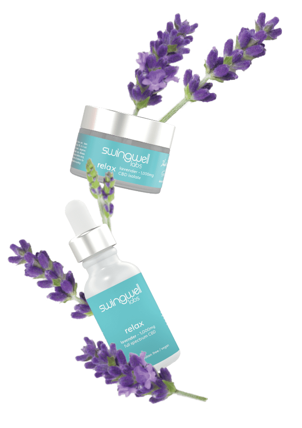 Relax product line posed alongside lavender flowers.