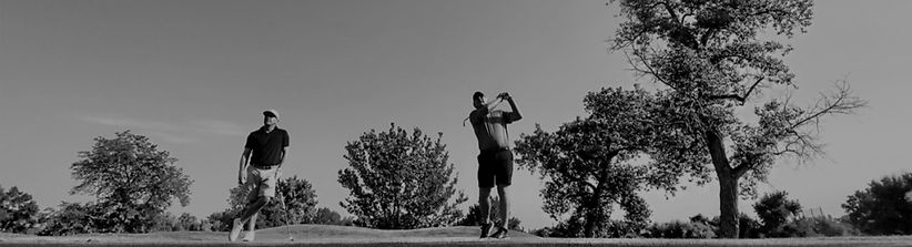 """Black and white photo of Steve and Hale Irwin playing golf, text reads """"Refund Policy""""."""