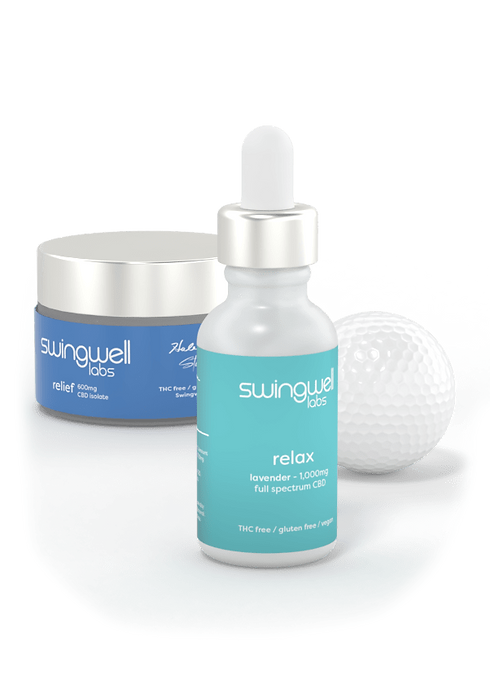 Swingwell Relief cream and Swingwell Relax tincture posed alongside golf ball.