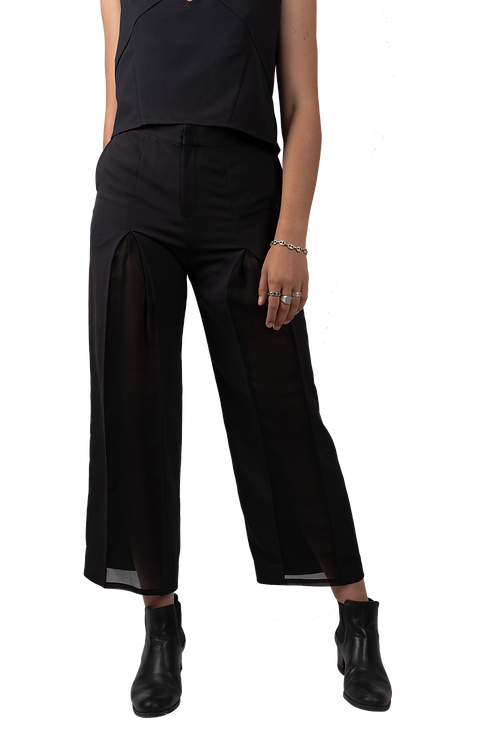 Pants with Translucent Slit Panel