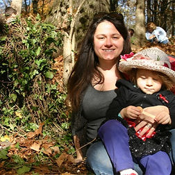 mother and child in ijams forest with fairy house