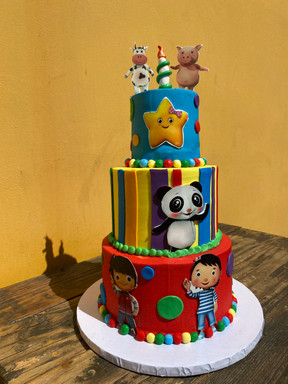 """4/6/8"""" Tiered Cake - buttercream with fondant accents"""