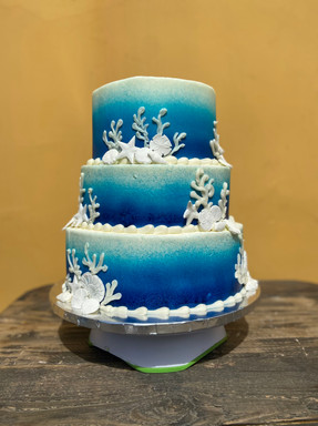 """Under the Sea Wedding Cake -  8/10/12"""" tiered cake airbrushed with fondant details"""