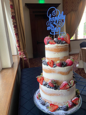 """6/8/10"""" Naked Wedding Cake with fresh berries"""