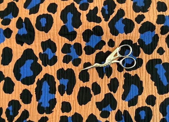 Double Gaze coton Leopard Caramel et bleu Rico Design