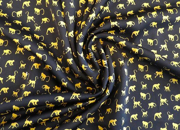 Polyester noir petits singes jaunes