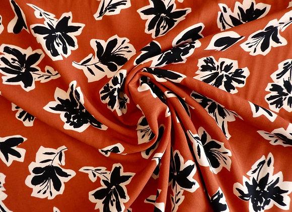 Viscose rouille et fleurs noires
