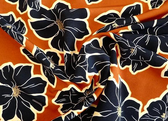 Polyester Terracotta grandes Fleurs Marine et Or