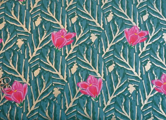 Double Gaze de coton fleurie Rico Design