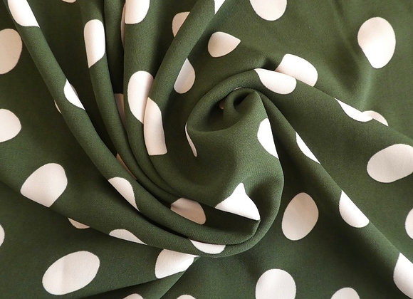 Polyester Vert Pois Blancs