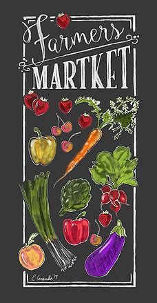 Farmers Market Dish Towel Art