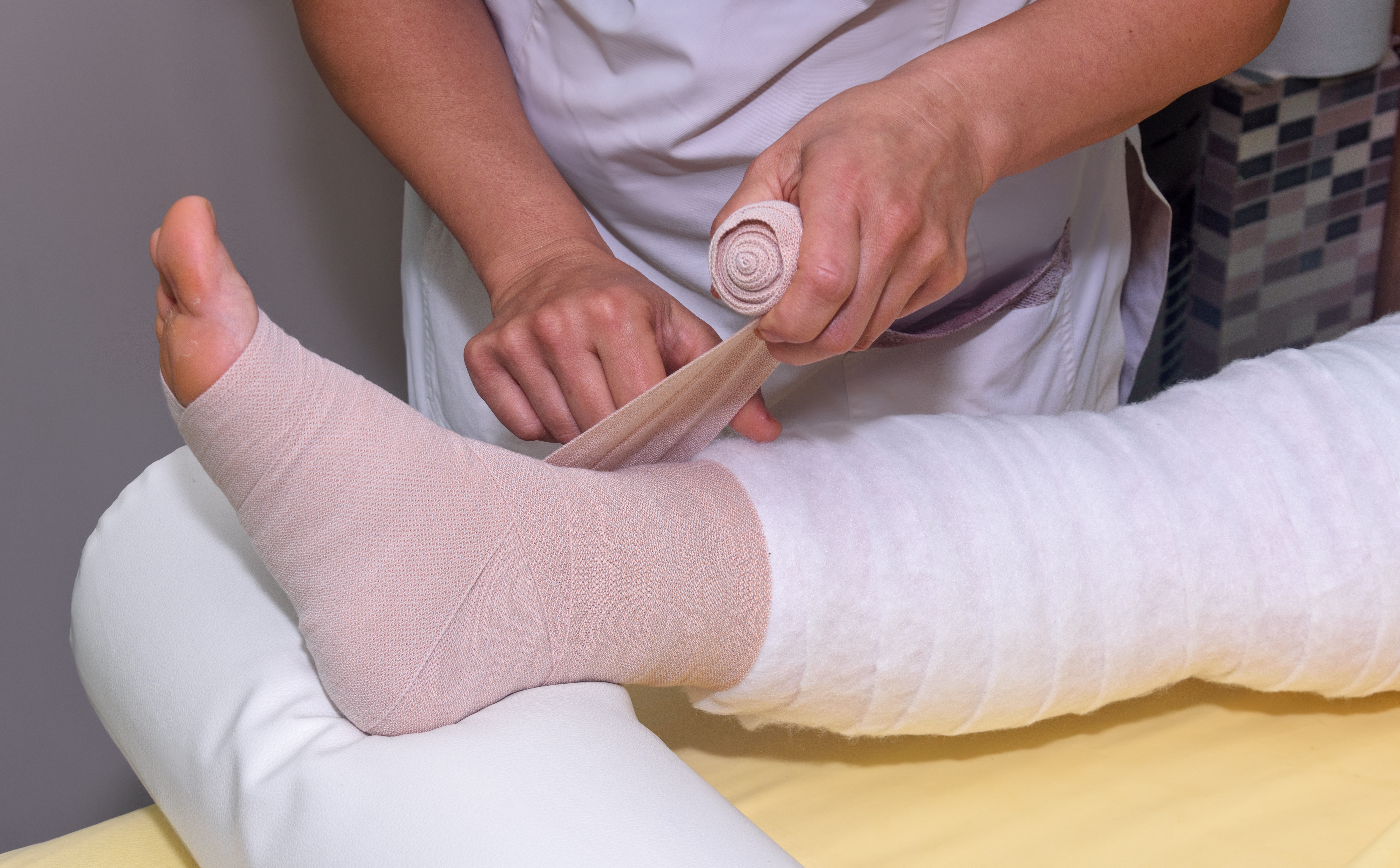 Bandaging and padding a leg