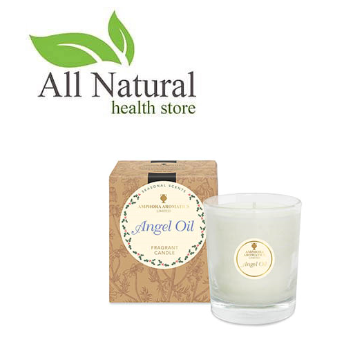 Amphora Aromatics 40hr Angel Oil Pot Candle, In a clear Glass Pot